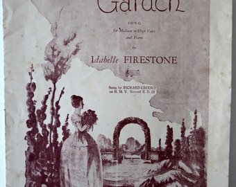 In My Garden Sheet Music, 1930s Music Book, For Medium or High Voice and Piano