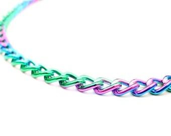 Iridescent Chain Necklace, Iridescent Choker Necklace, Rainbow Necklace, Rainbow Chain