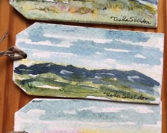 Original Miniature Landscape Watercolor Gift Tags. Set of 3.