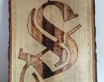 Wood Burned Old English Monogram
