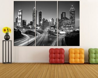 black and white wall art Atlanta skyline canvas Print, Atlanta night wall art print, extra large wall art canvas home and office decor iki05