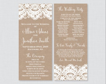 Printable OR Printed Wedding Programs - Rustic Burlap and Lace Wedding Ceremony Program Cards, Personalized Wedding Program Template 0002