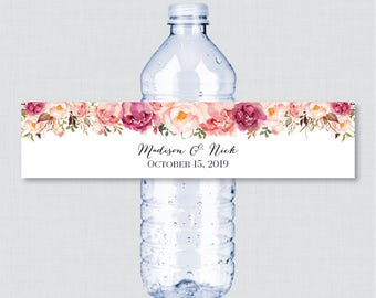 Printable OR Printed Wedding Water Bottle Labels - Rustic Pink Flower Custom Water Bottle Labels - Personalized Water Bottle Labels 0004