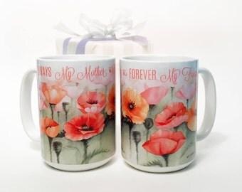 Personalized Mother's Day Mug: Watercolor Coffee Mug, poppy watercolor mug, custom mug, home gift, custom mug, mug for her, SHIPS FAST