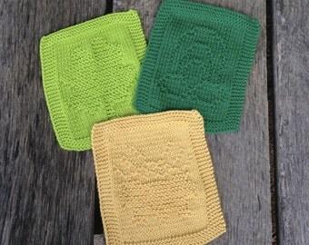 Knit St. Patrick's Day Dishcloth Set, Knit dishcloth set, Dishcloth trio, cleaning cloth