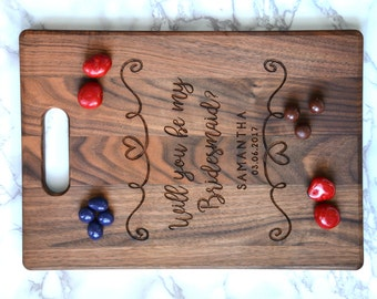 Personalized Cutting Board Wood Handle Be My Bridesmaid Proposal Gift, Bridesmaid Proposal, Asking Bridal Party, Wedding Bridesmaid Gift