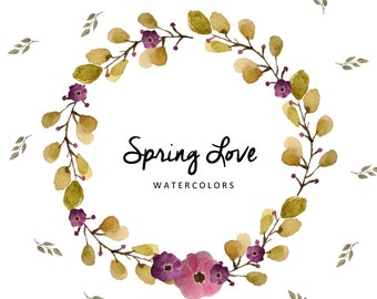 Watercolours Flowers   Spring Love