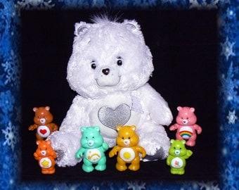4 Vintage Care Bear Poseable Figures, 2 Vintage Mini Figures,& One 25th Anniversary Tenderheart Bear