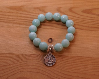 One of a Kind--Natural Sky Blue Grade A Jade Stretch Bead Bracelet with Brushed Sterling silver Beads and Signature Sterling Silver Charm