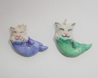 Purrmaid/cat mermaid polymer clay charm necklace