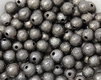 100 beads, Gunmetal Gray Stardust 6mm Spacer beads