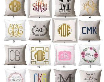 Personalized Monogrammed pillow, Monogram Pillow personalized, Cushion Black Monogram, wedding gift, personalized gift