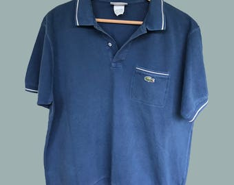 Vintage Retro Blue Lacoste Polo Shirt