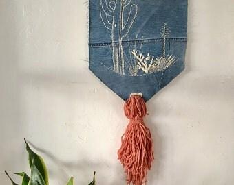 Embroidered Desert Scene Denim Wall Hanging