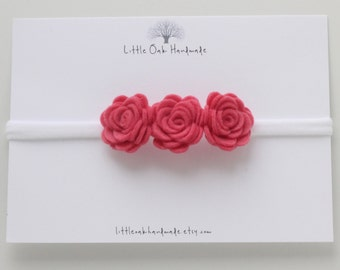 Crown Felt Flower Headband - Coral Pink - Baby Headband - Flower Headband - Nylon Headband