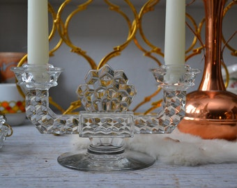 Vintage Lead Crystal Candle Holders 2 boho/artdeco/jewelry display/cut crystal decor