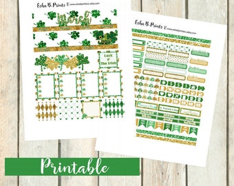 Luck O' The Irish Printable Planner Stickers/Printable Monthly Kit/For Use with Erin Condren/Fall St Patricks Day Glam Green Clover Gold