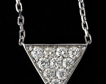 Triangle shaped charm necklace , diamond pendent , white gold chain, 18karat gold chain and necklace, geometric necklace