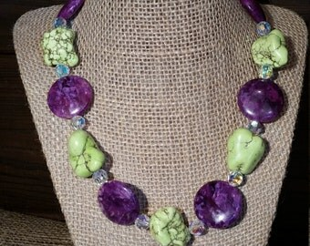 Green and Purple Turquoise with Crystals