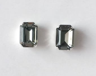 Vintage 1980's Emerald Cut Grey Glass Faceted Stud Earrings