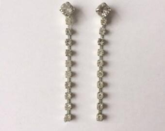 Vintage 1950's Clear Rhinestone Silver 6cm Dangle Drop Earrings