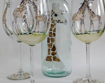 Whimsical Giraffes, hand painted, one of a kind creations!