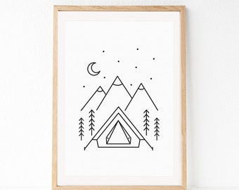 Camping Print, Black And White, Scandinavian Print, Adventure Print, Kids Printable Art, Nursery Print, Modern Minimalist, Line Art, Simple