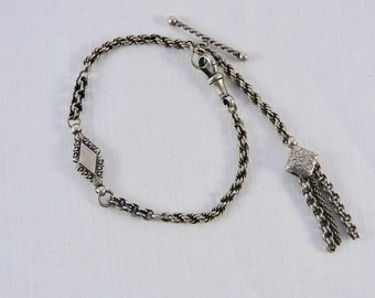 Antique Silver Turn of the Century Ladies Albertina , Watch Chain. Circa 1880-1910