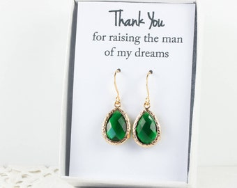 Emerald Gold Teardrop Earrings, Gold Green Earrings, Emerald Wedding Jewelry, Bridesmaid Gift, Bridesmaid Earrings, Green Bridal Accessories