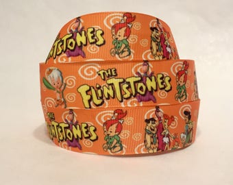 "1/3/5 Yards - 1"" Flintstones Print Grosgrain Ribbon"