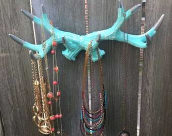 Antler Jewelry Holder, Necklace Holder Faux Taxidermy Antler, Fake Taxidermy, Antler Wall Decor, Wall Mount, Rustic Decor, Rustic Home Decor