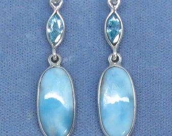 """Larimar & Blue Topaz 2"""" Long Leverback Earrings - Sterling Silver - 152006"""