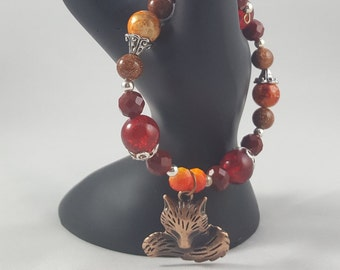 Fox Charm Single Coil Bracelet