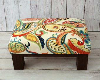 Pouf ottoman - upholstered ottoman - upholstered footstool colorful - footstool - rustic furniture - small footstool - wood ottoman - pouffe