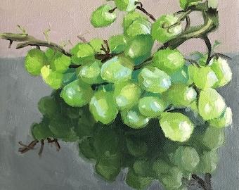 "Original Fine Art, Still Life Oil Painting on Canvas, Fruit Painting: ""Grapes"" 8""x8"""