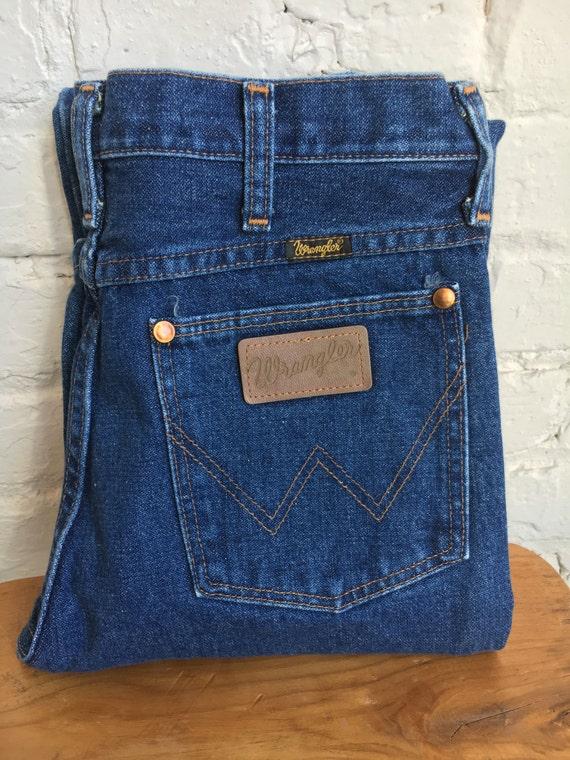 items similar to vintage wrangler blue denim jeans 28 inch waist made in usa 28x34 made. Black Bedroom Furniture Sets. Home Design Ideas
