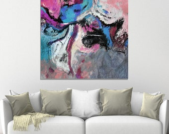 Blue Pink Abstract Art, Abstract Art Print, Minimalist Prints, Modern Abstract  Prints, Canvas Prints of an Acrylic Painting, Minimalist Art