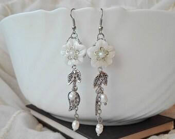 Mother of Pearl Shells Earrings, Wedding Earrings, Cluster Earrings, Dangle Earrings, Chandelier Earrings, Flower Earrings, Long Earrings