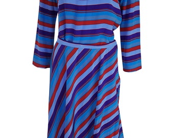 JERRY REGENBOGEN Vintage Striped Silk Skirt and Shirt Set (12)