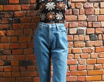 Women's 90s Tommy Hilfiger Blue High Waisted Jeans With Tommy Embroidery Size 29