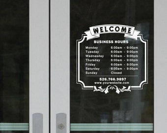 SHOP WORK HOURS Custom Store Shop Salon Business Working - Custom vinyl decals lettering for shirts