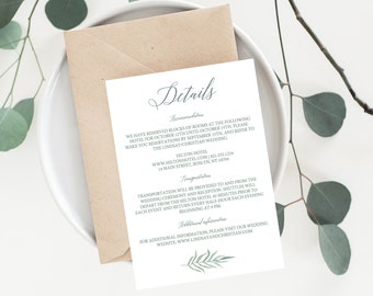 printable wedding information card instant download wedding details card template download accommodation cards info card digital