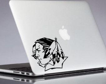 Fighting Sioux Decal - ND University Sticker - Macbook Decals - Laptop Decal - Wall Sticker - Gold Decal - Vinyl Decals - Macbook Stickers