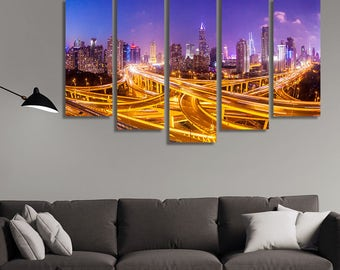 LARGE XL Shanghai Interchange Overpass Canvas Print Elevated Road Canvas City Skyline Background Wall Art Print Home Decoration - Stretched