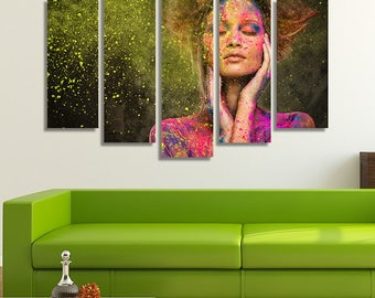 LARGE XL Body Art Canvas Print Young Woman Muse Canvas Mixture of Different Paint Colors Canvas Wall Art Print Home Decoration - Stretched