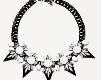 Chunky Black and White Trendy Statement Bib Necklace