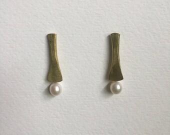 Bamboo Stick Pearl Earrings
