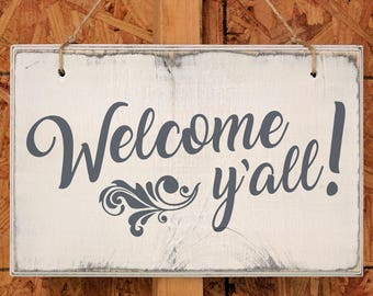 Welcome Y'all Wooden Door Sign