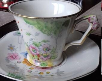 FLOWER-HANDLE  tea cup & saucer James Kent Ltd fenton springtime 2146