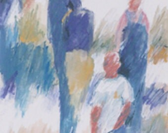 Original Watercolor Painting, people, children, crowd, blue, green, gold, white, gouache, drawing, art, contemporary, modern, Edie Fagan